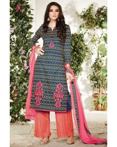 Cotton Blueish Designer Salwar Suit