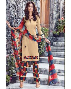 Cotton Fabric Peach Designer Salwar Kameez
