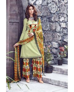 Cotton Fabric Light Golden Rod Yellow Designer Salwar Kameez