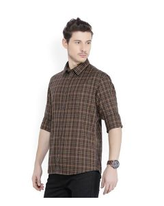 Terrain Men's Checkered Casual Brown Shirt