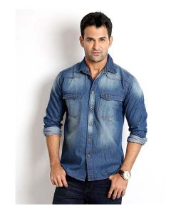Rodid Men's Solid Casual Denim Dark Blue Shirt